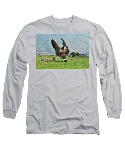 Mama And Papa Goose With Goslings Long Sleeve T-Shirt