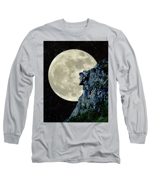 Long Sleeve T-Shirt featuring the photograph Man In The Moon Meets Old Man Of The Mountain Vertical by Larry Landolfi