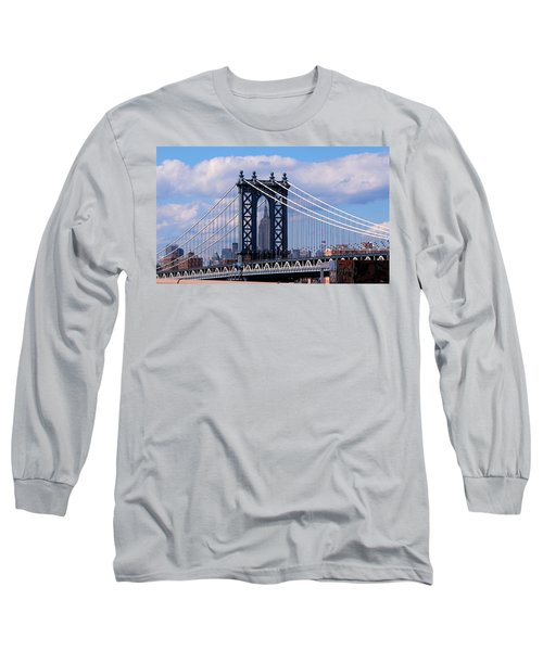 Manhattan Bridge Framing The Empire State Building Long Sleeve T-Shirt