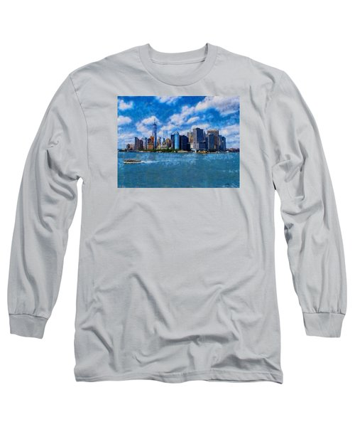 Long Sleeve T-Shirt featuring the digital art Manhattan Skyline by Kai Saarto
