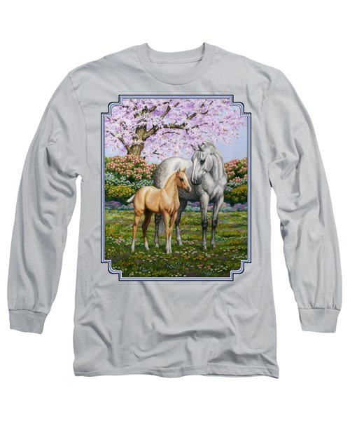 Mare And Foal Pillow Blue Long Sleeve T-Shirt