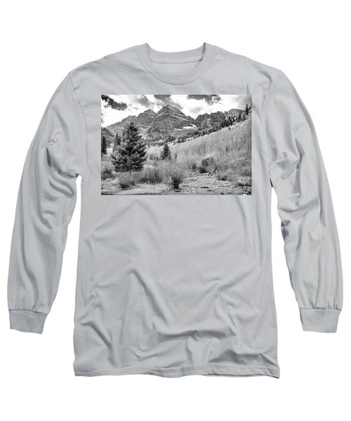 Long Sleeve T-Shirt featuring the photograph Maroon Bells Monochrome by Eric Glaser