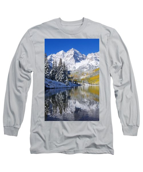 Maroon Lake And Bells 2 Long Sleeve T-Shirt by Ron Dahlquist - Printscapes