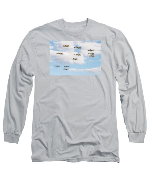 Massed Spitfires Long Sleeve T-Shirt by Gary Eason