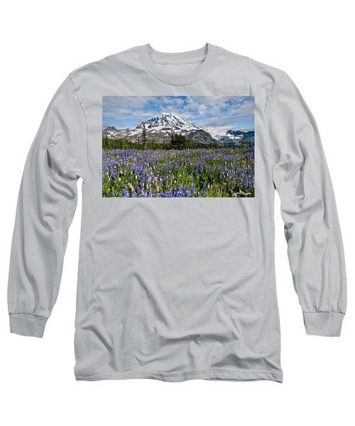 Meadow Of Lupine Near Mount Rainier Long Sleeve T-Shirt