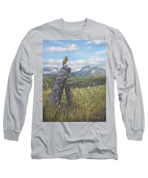 Long Sleeve T-Shirt featuring the painting Meadowlark Serenade by Kim Lockman