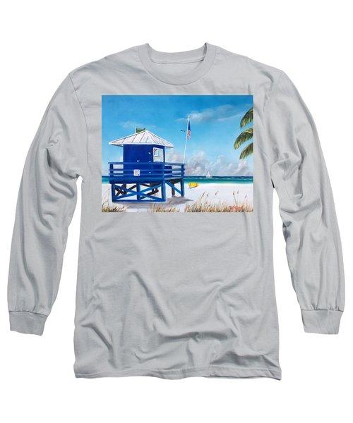 Meet At Blue Lifeguard Long Sleeve T-Shirt by Lloyd Dobson