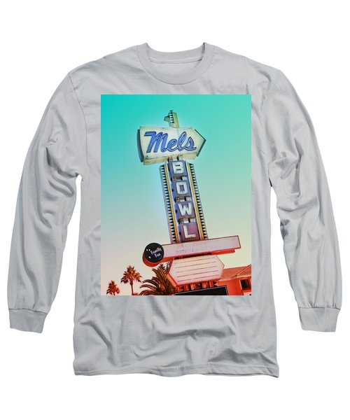 Mels Bowl Retro Sign Long Sleeve T-Shirt by Kathleen Grace