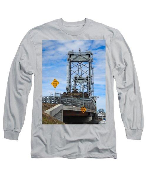 Memorial Bridge Portsmouth  Nh Long Sleeve T-Shirt by Nancy De Flon