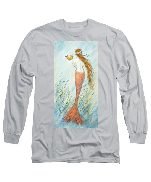 Mermaid And Her Catfish, Goldie Long Sleeve T-Shirt by Tina Obrien