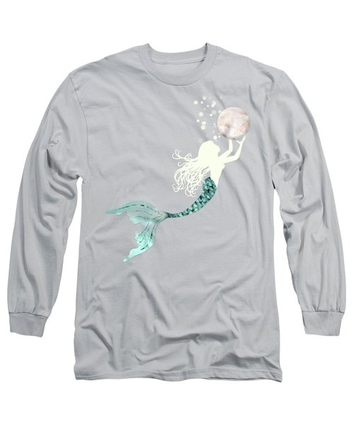 Mermaid Gathering Pearls Creamy White Siren Holds A Huge Pearl Long Sleeve T-Shirt
