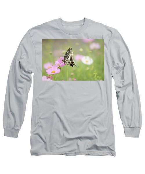 Mexican Aster With Butterfly Long Sleeve T-Shirt by Hyuntae Kim