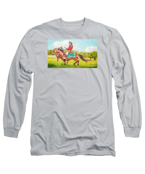 Long Sleeve T-Shirt featuring the mixed media Mexican Horse Soldiers by Kim Henderson