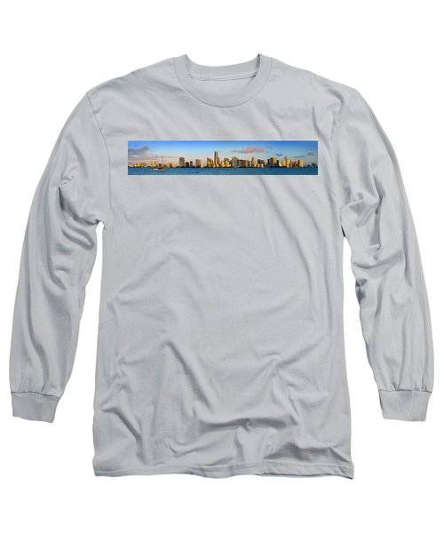 Miami Skyline In Morning Daytime Panorama Long Sleeve T-Shirt