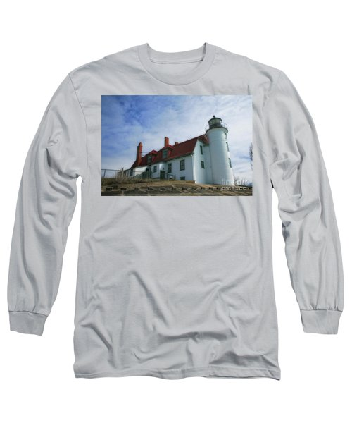 Michigan Lighthouse Long Sleeve T-Shirt by Gina Cormier