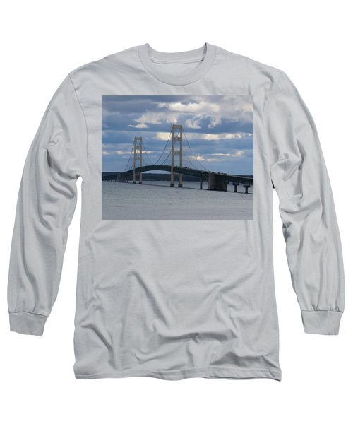 Mighty Mac The Mackinac Bridge Long Sleeve T-Shirt by Keith Stokes