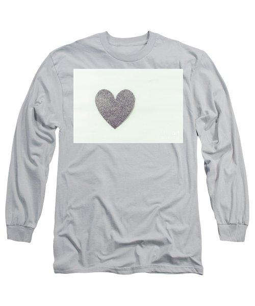 Minimalistic Silver Glitter Heart Long Sleeve T-Shirt
