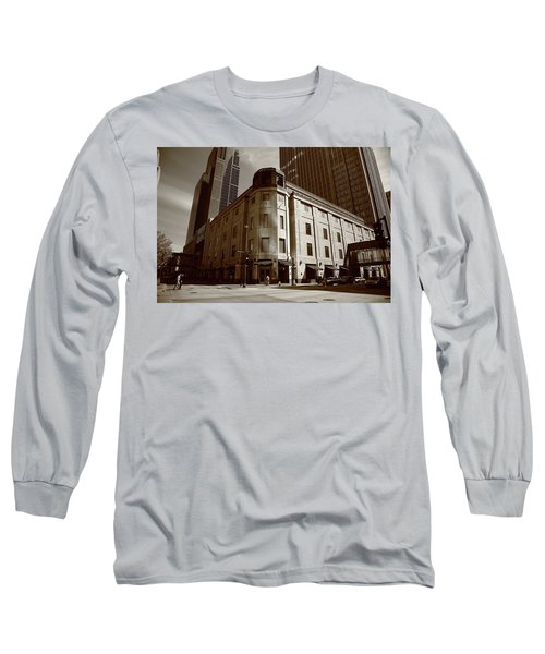 Long Sleeve T-Shirt featuring the photograph Minneapolis Downtown Sepia by Frank Romeo
