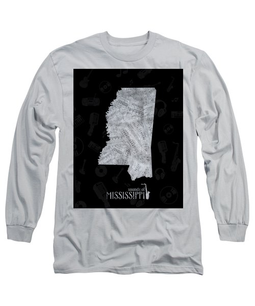 Mississippi Map Music Notes 2 Long Sleeve T-Shirt