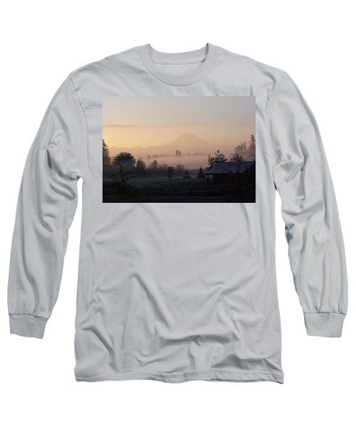 Misty Mt. Rainier Sunrise Long Sleeve T-Shirt