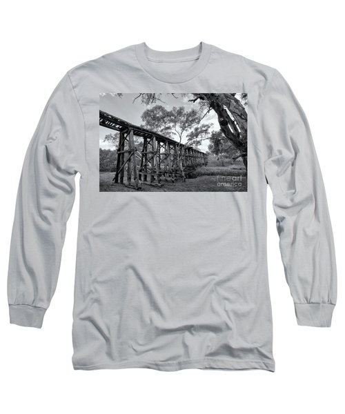 Long Sleeve T-Shirt featuring the photograph Mollisons Creek Trestle Bridge by Linda Lees