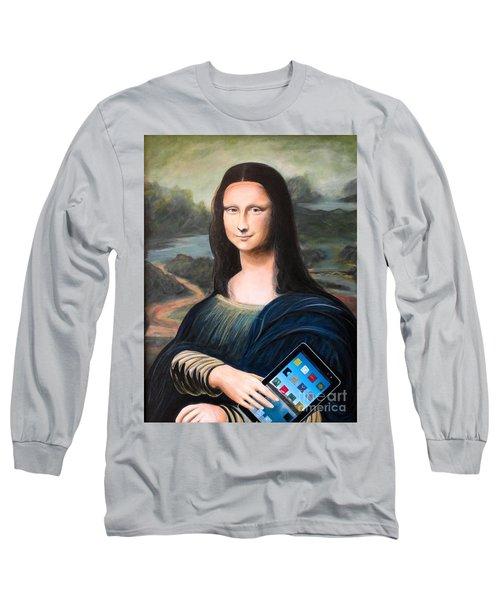 Mona Lisa With Ipad Long Sleeve T-Shirt