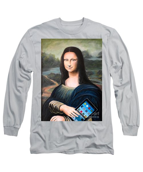 Mona Lisa With Ipad Long Sleeve T-Shirt