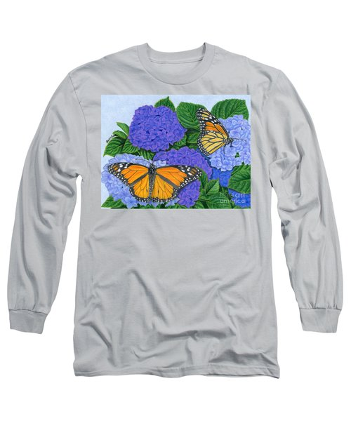 Monarch Butterflies And Hydrangeas Long Sleeve T-Shirt by Sarah Batalka