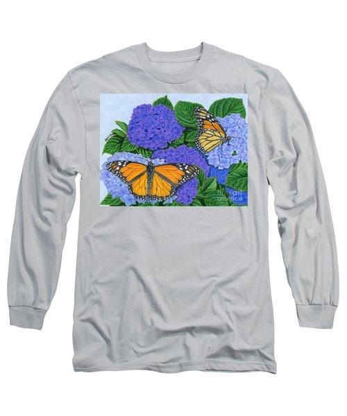 Monarch Butterflies And Hydrangeas Long Sleeve T-Shirt