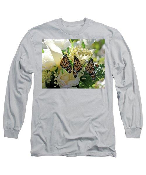 Monarch Butterfly Garden  Long Sleeve T-Shirt by Luana K Perez