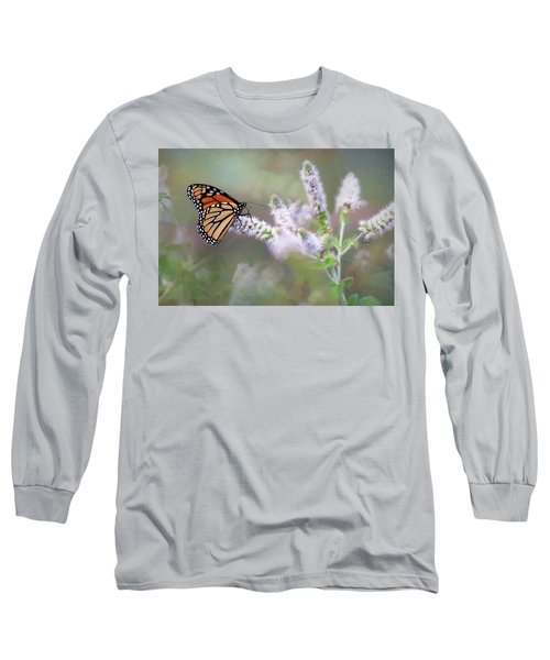 Long Sleeve T-Shirt featuring the photograph Monarch On Mint 1 by Lori Deiter