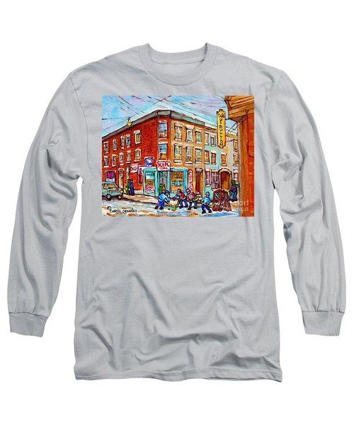 Montreal Storefront Paintings Debullion Street Hockey Art Quebec Winterscenes C Spandau Canadian Art Long Sleeve T-Shirt