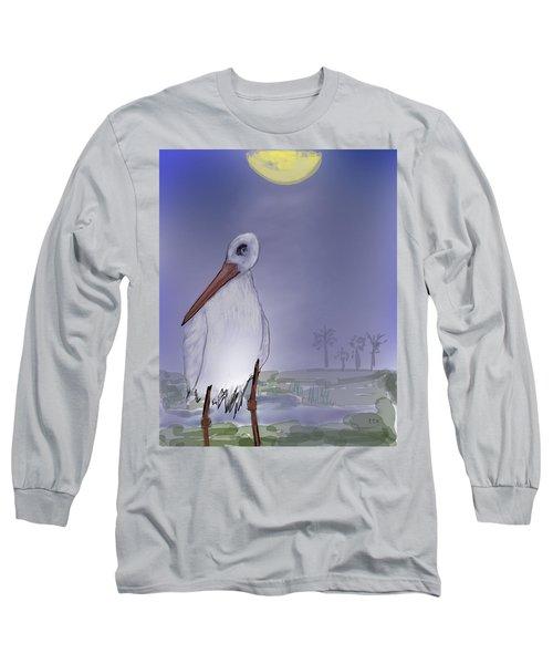 Moon Rise Becomes A Stork Long Sleeve T-Shirt