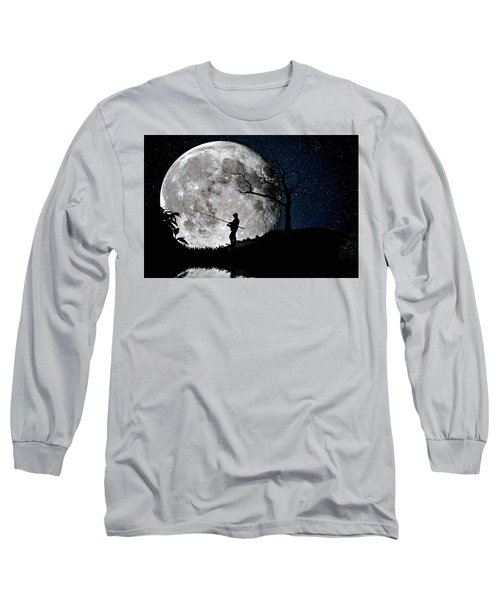 Moonlight Fishing Under The Supermoon At Night Long Sleeve T-Shirt by Justin Kelefas