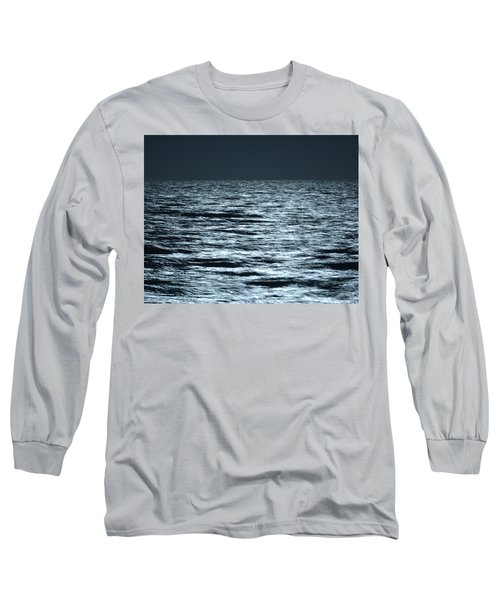 Moonlight On The Ocean Long Sleeve T-Shirt by Nancy Landry