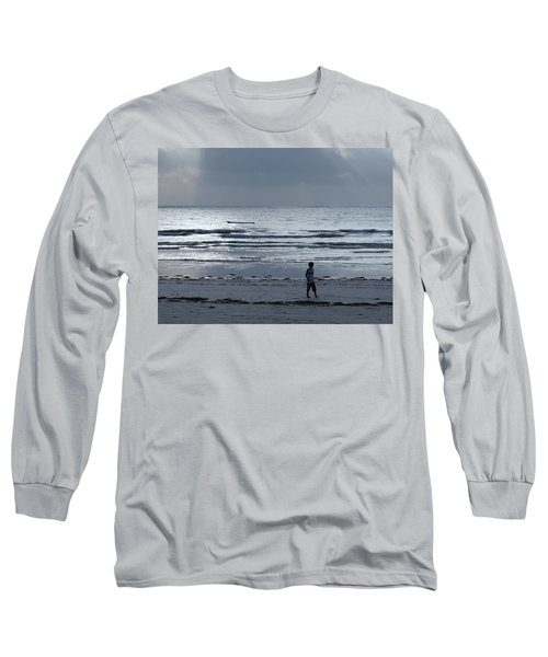 Morning Beach Walk On A Grey Day - Lone Dhow Long Sleeve T-Shirt