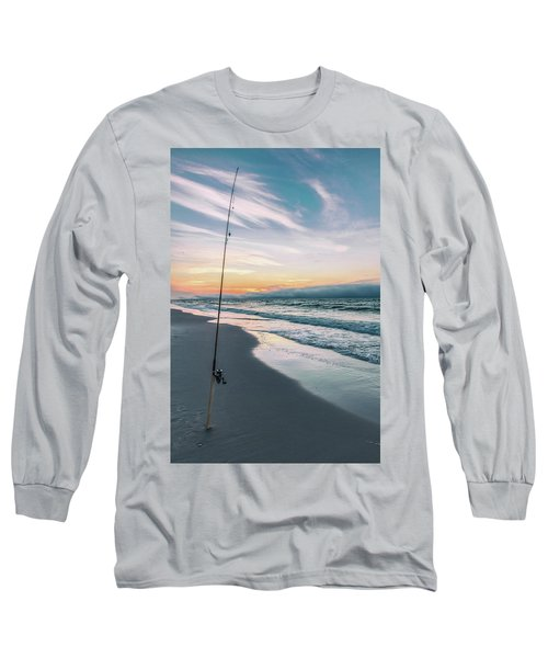 Long Sleeve T-Shirt featuring the photograph Morning Fishing At The Beach  by John McGraw