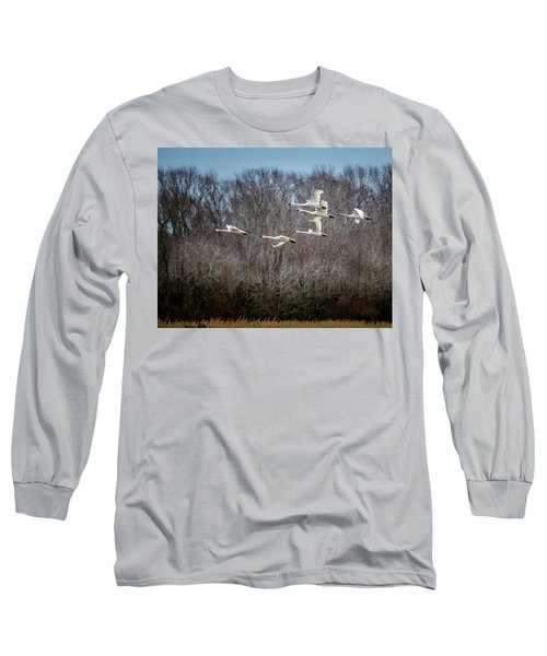 Morning Flight Of Tundra Swan Long Sleeve T-Shirt