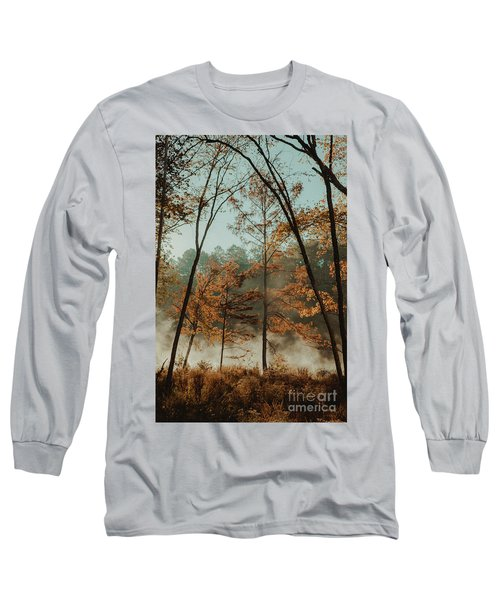 Morning Fog At The River Long Sleeve T-Shirt by Iris Greenwell