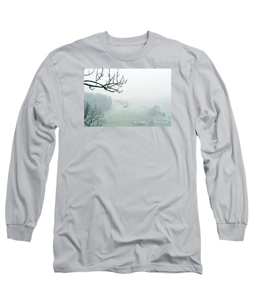 Long Sleeve T-Shirt featuring the photograph Morning Fog - Winter In Switzerland by Susanne Van Hulst