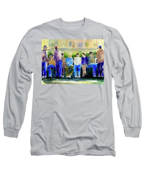 Morning Meeting In Portsmouth Square Long Sleeve T-Shirt by Tom Simmons