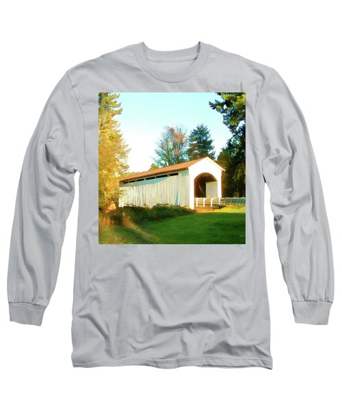 Mosby Creek Covered Bridge Long Sleeve T-Shirt by Wendy McKennon