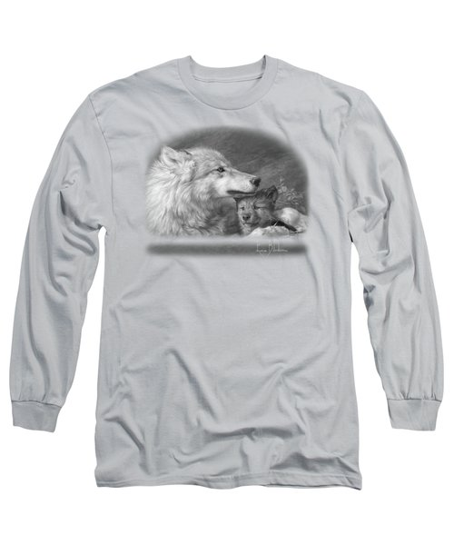 Mother's Love - Black And White Long Sleeve T-Shirt by Lucie Bilodeau