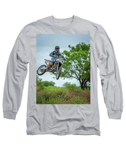 Long Sleeve T-Shirt featuring the photograph Motocross Aerial by David Morefield