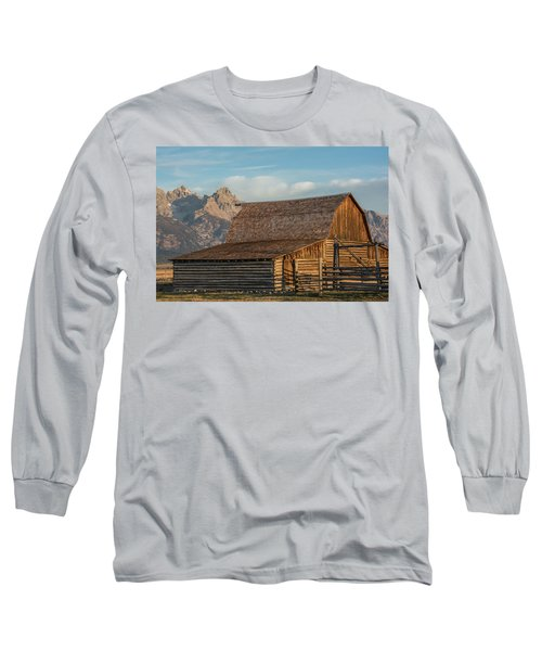 Long Sleeve T-Shirt featuring the photograph Moulton Homestead - Barn At Morning Light by Colleen Coccia