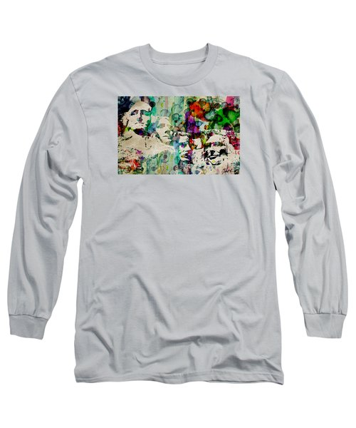 Mount Rushmore Watercolor Presiden Long Sleeve T-Shirt