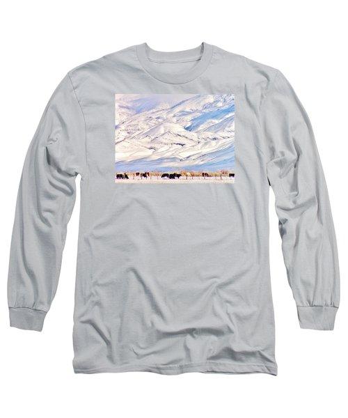 Mountain Snow Long Sleeve T-Shirt by Marilyn Diaz