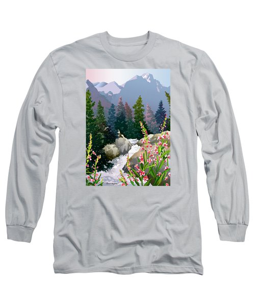 Mountain Stream Long Sleeve T-Shirt by Anne Gifford