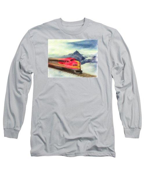 Mountain Train Long Sleeve T-Shirt by Michael Cleere