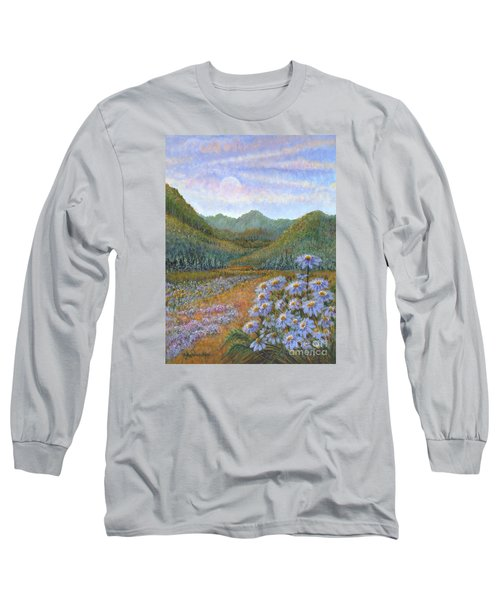 Mountains And Asters Long Sleeve T-Shirt by Holly Carmichael